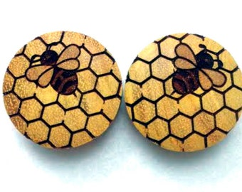 "Custom Handmade ""Honeycomb Bee"" Organic Wood Plugs - You choose wood type/color and size 7/16"" - 30mm"