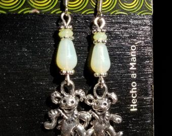Grateful Dead, Dancing Bear, Jerry Bear, Bear Earrings UV beads, Uranium glass