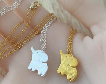 Elephant Necklace, Elephant Jewelry, Elephant Charm, Gold Elephant , Silver Elephant, Baby Elephant, Elephant Pendant, Animal Necklace