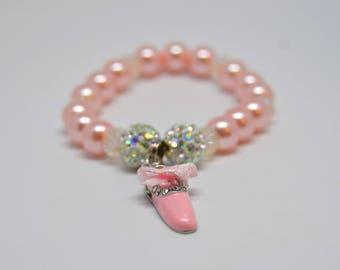 Ballet Slipper Bracelet For Girls, Dance Bracelet, Ballet Bracelet, Pearl Bracelet, Dance Recital Gift, Ballerina Bracelet, Initial Bracelet