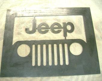 Jeep raw metal sign 14 gauge metal, Plasma Cut
