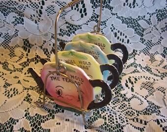 Four Vintage Tea Pot Teabag Holders with Rack