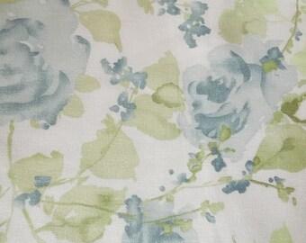 Blue Roses Cotton Linen Fabric