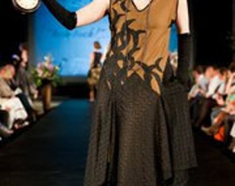 Great Gatsby - Silk 1920's Evening Dress, Olive Brown with Black lace Crescent moons
