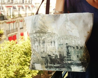 ParisTote bags, painting copy printed Sacré-coeur of Paris, beach bag, canvas bag,  handmade casual chic handbags,