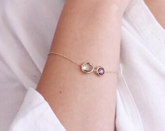 Purple Green Amethyst Bracelet, 14K Gold Bracelet, Gold Elegant Bracelet, Birthday Gift, February Birthstone Bracelet, Gift for Her, GB0279