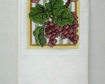Grape Kitchen Towel Cross Stitch Tuscan Decor, Fruit Design Tea Towel, Huck Towel