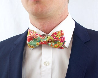 Bow tie in the colours yellow, orange, fuchsia, green, Liberty pre-noue and adjustable flower