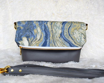 Ready to ship ocean marble crossbody, marble crossbody bag, foldover crossbody, foldover purse, tropical crossbody,tropical bag,marble purse