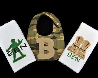 Personalized Military Themed Bib and 2 Burpcloth Set