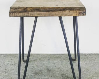 Reclaimed wood Stool on Hairpins