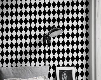 Harlequin Wallpaper - Geometric Pattern - Modern Wallpaper - Black and White pattern - Design Wallpaper - Reusable - Peel&Stick - Decal - 41