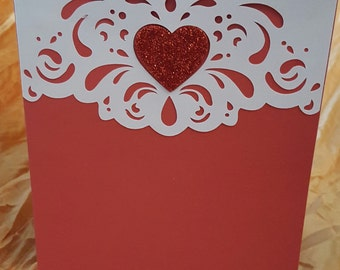 Valentine's Card, Greeting Card, Holiday Card, Card, FREE SHIPPING, Red and White Valentine Card, Handmade Card