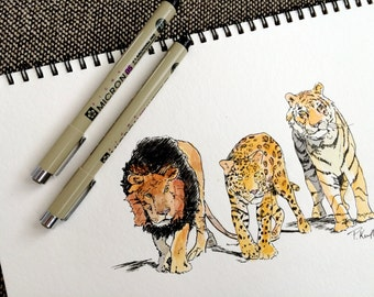 Wild Cats Watercolor and Ink