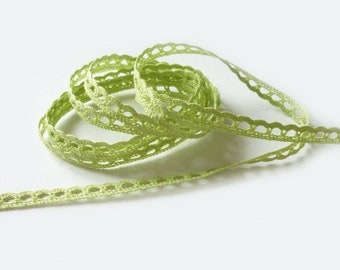 Ribbon trim lace lime green by the yard 8 mm fine cotton