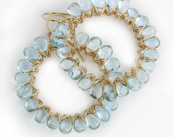 Sky Blue Topaz Sunburst Hoop Earrings in Gold Fill