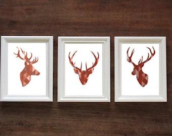 Geometric Red Stag Head Set of 3 | Stags / Deer | PRINT