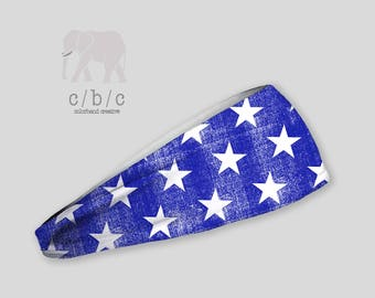 4th of July Headband, Independence Day Headband, Blue and White Headband, Thin Headband, Wide Headband, Thick Headband, Yoga Headband