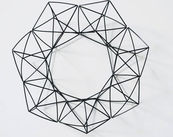 12 inch Plastic Himmeli Wreath — Scandinavian Design | Geometric Wreath | Handmade Wreath | Plastic Mobile | Nordic