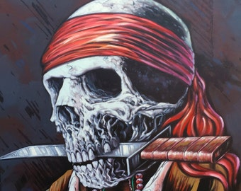"Pirate Skull with Knife. 24"" x 36"" Hand Painted Oil Painting on Canvas. Comes stretched and ready to frame or hang."