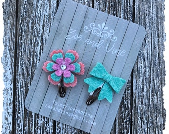 READY TO SHIP, Teal Pink Orange Wool Felt Flower Mini Bow Clip Set, Baby Clips, Infant Girls Adult Mini Snap Clips