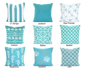 OUTDOOR Pillow Covers, Beach Decor, Throw Pillows, Nautical Cushions, Ocean Blue White, Patio Cottage Boat Pillows,  Mix & Match ALL SIZES