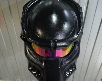 Matt black custom predator helmet with real laser. Wolf model. DOT&ECE certiied. FREE international shipping. Painted Raptor u-pol!