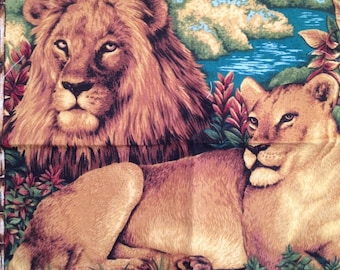 Lion Fabric, Vintage Fabric, Lion & Lioness Quilt Block, Panel, Sewing, Quilting, Crafts, Crafting
