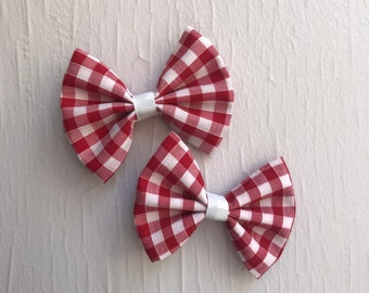 """Set of Two - Red Checked 3"""" Hair Bows"""