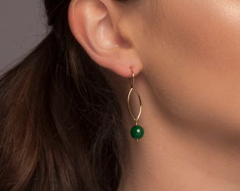 Gold or Silver Green Onyx Drop Earrings, Gold or Silver Green Agate Drop Earrings, Green Drop Earrings, Green Dangle Earrings, Green Earring