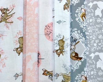 "Bambi Fat Quarter Bundle Pink. 6 Fat Quarters approx 50cm x 55cm (20"" x 22"")"