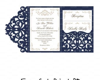 Wedding invitation Set of Tri Fold Lace pocket envelope 5x7 Card Template (studio V3, svg, dxf, cdr) laser cut Instant Download Cricut Cameo