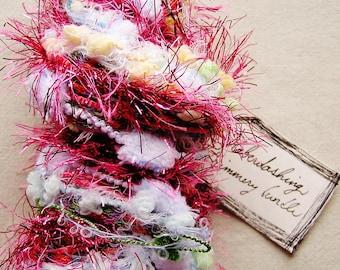 Raspberry Soda pink white blue Pom Pom tinsel valentines trim Puffy Fringe Trim Embellishment