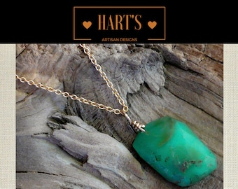 Green Chrysoprase Gemstone Pendant 14K Gold Necklace