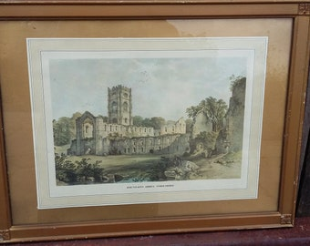 Vintage Gilt Frame Print Fountains Abbey Yorkshire
