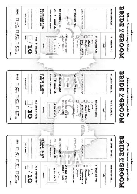 Printable Wedding Table Quiz & Survey Alternative guestbook