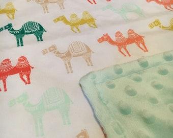 Camel Baby Girl Minky Blanket