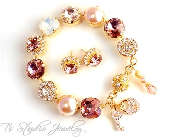 Blush Pink Gold Silk Metallic Bridesmaid Wedding Bracelet- 12mm