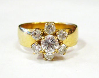 14K Diamond Flower Ring - X2870