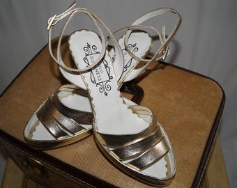 Vintage Lulu Guinness stappy gold wedge heels UK size 3
