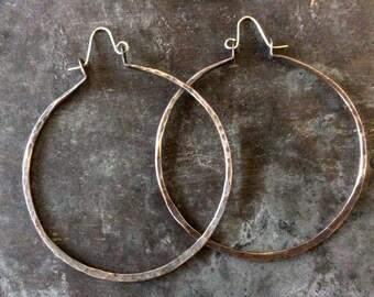 FLASH SALE! XL organic forged copper hoops