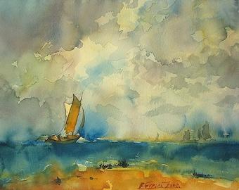 Sailboat On Sea, Cloudy Sky (Print)