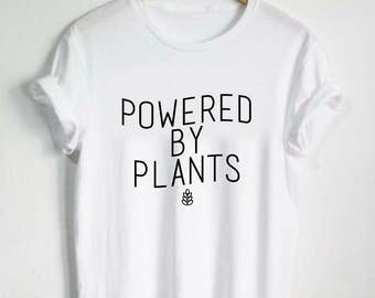Powered By Plants Shirt - Unisex / Womans Tshirt Vneck Plant Eater Vegetarian Vegan Gift Vegan Shirts Graphic Tee Plant Garden Vegetable Tee