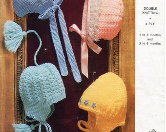 vintage baby hats knitting pattern pdf baby bonnets helmets caps 1-6months DK 4ply light worsted 8ply sports pdf instant download