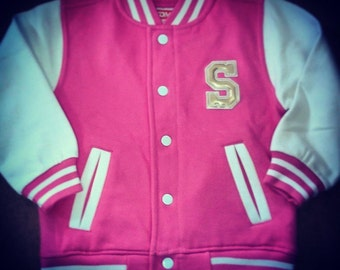 Personalised Children's Varsity Jacket Customised With Initial (Chest) & Message/Design (Back)