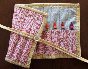 Pink Crayon Roll, Numbers, Noteworthy, Gray, Cream, Flowers, Crayon Holder, Crayon Tote, Handmade, Girl, Crayon Roll Up, Lucy's Crab Shack