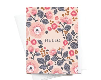 Cute Greeting Card + Envelope | Hello | Flowers | Hello Card | Thinking of You Card