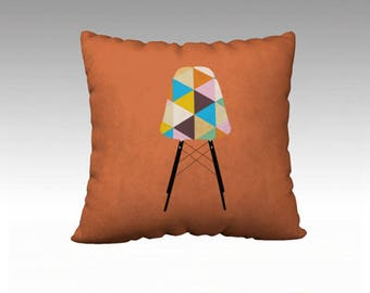 Orange Geometric Eames Chair Throw Pillow, 22x22 pillow cover, Pillow Cover, Sofa Pillows, Decorative Pillow, Couch Pillow, Pillows