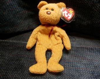 """RARE--""""Curly"""" the bear--1993 Tush Tag/1996 Hang Tag.  Fareham, Hants. Hang tag errors."""