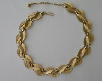 Trifari  Leaf Choker Necklace. Brushed gold plated # 2